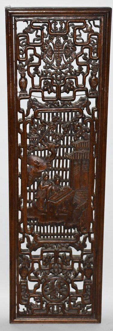 Set of 3 VINTAGE CHINESE WOOD CARVED WALL PANELS - 6