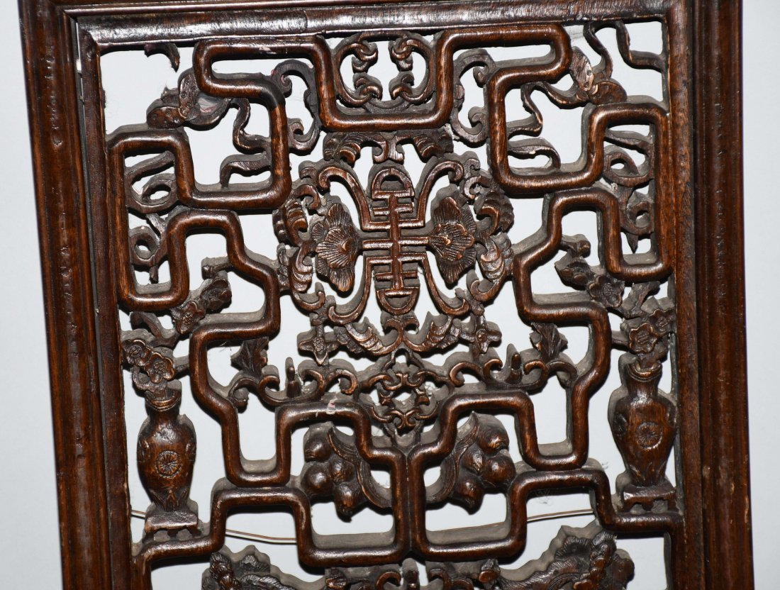 Set of 3 VINTAGE CHINESE WOOD CARVED WALL PANELS - 7