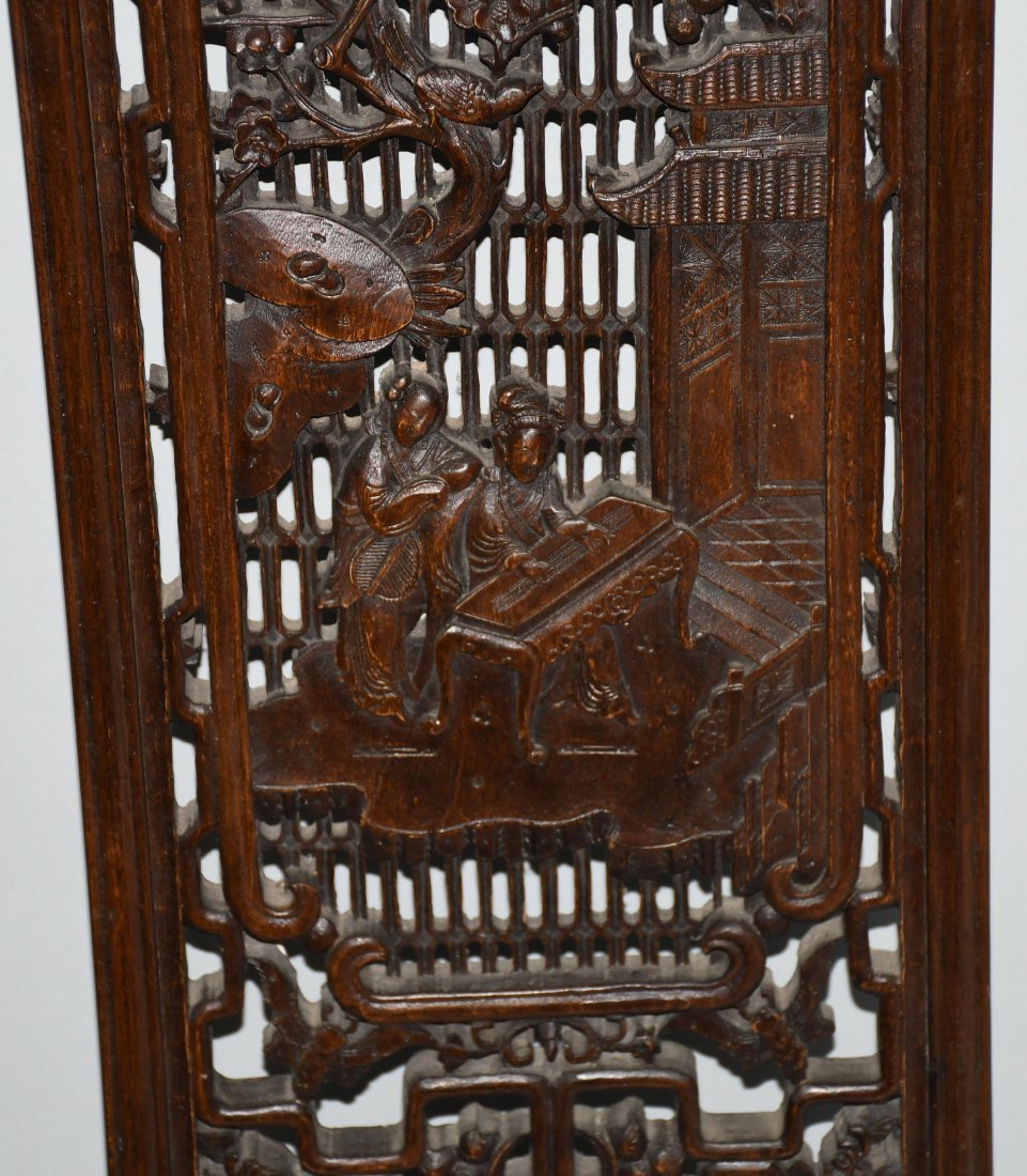 Set of 3 VINTAGE CHINESE WOOD CARVED WALL PANELS - 8