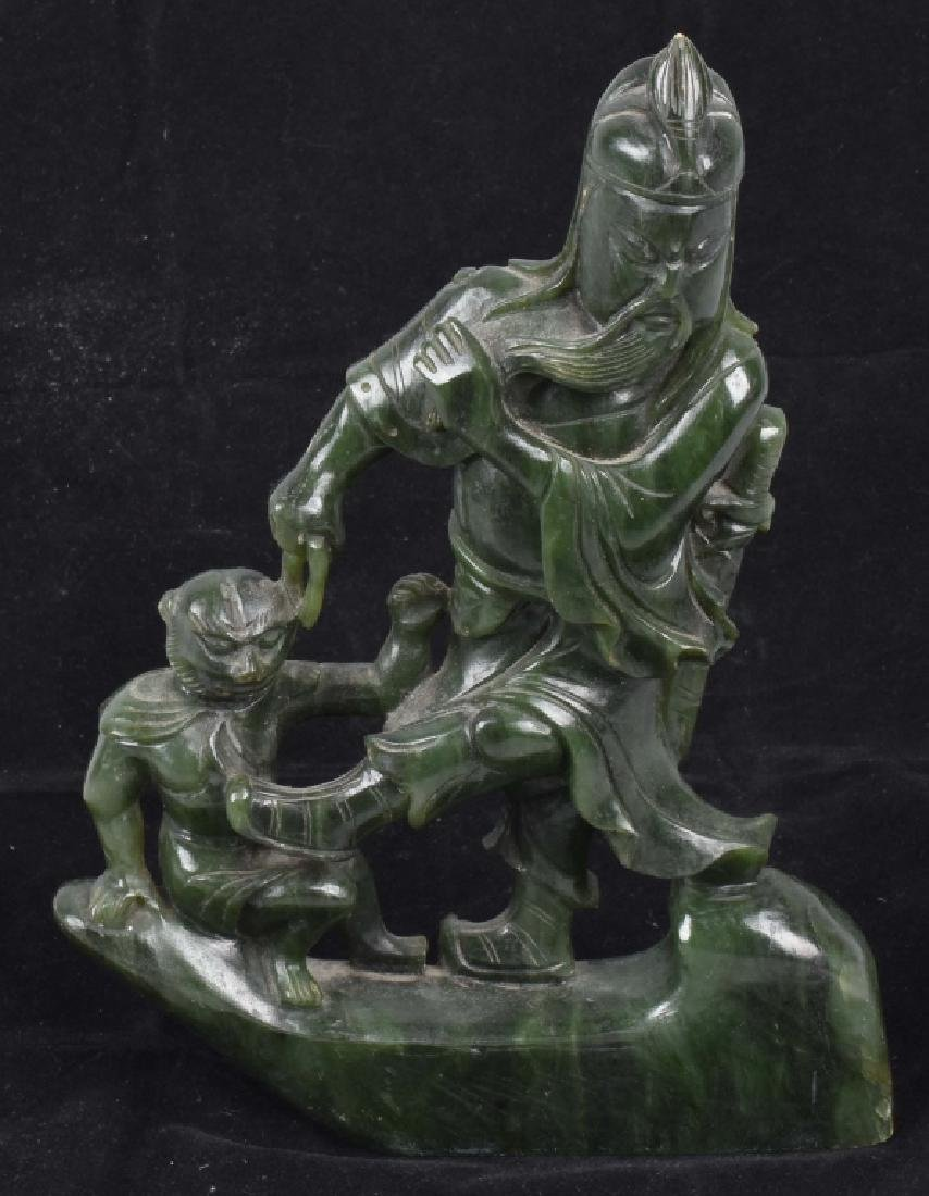 ASIAN CARVED JADE COLOR STONE WARRIOR & MONKEY