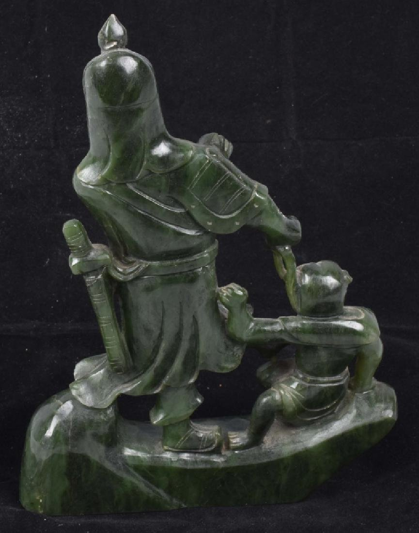 ASIAN CARVED JADE COLOR STONE WARRIOR & MONKEY - 4