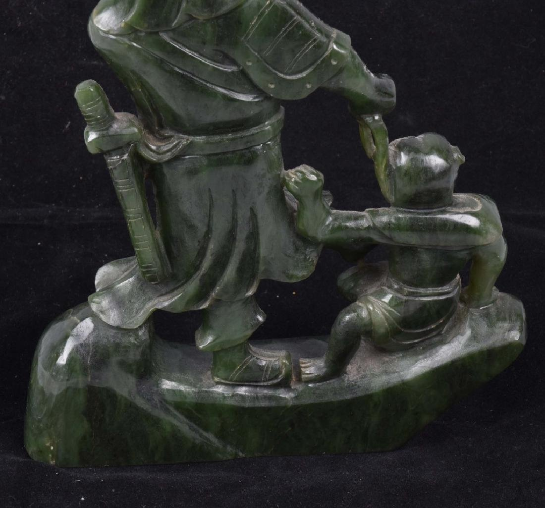 ASIAN CARVED JADE COLOR STONE WARRIOR & MONKEY - 6