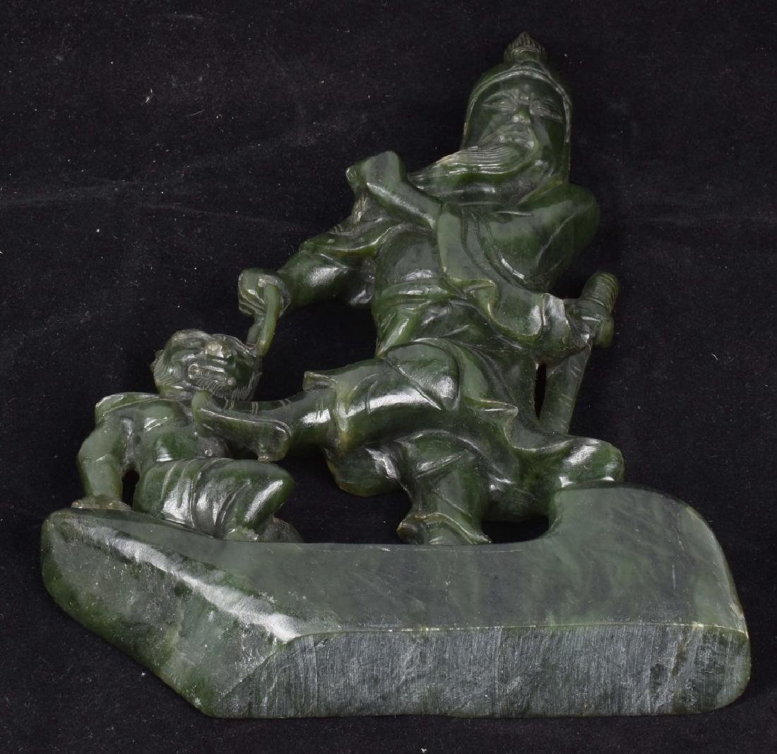 ASIAN CARVED JADE COLOR STONE WARRIOR & MONKEY - 7