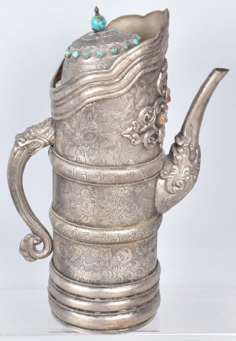 ASIAN HAMMERED METAL PITCHER w/ APPLIED STONES