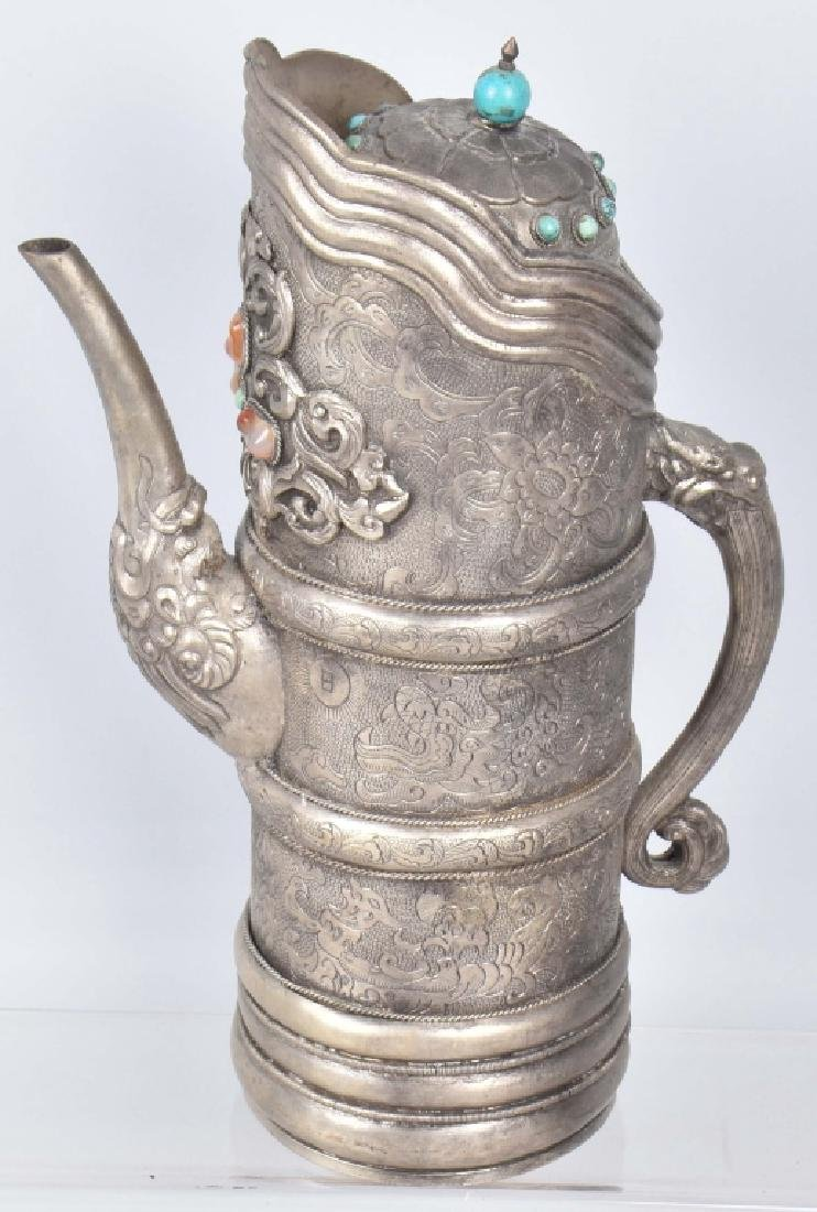 ASIAN HAMMERED METAL PITCHER w/ APPLIED STONES - 2