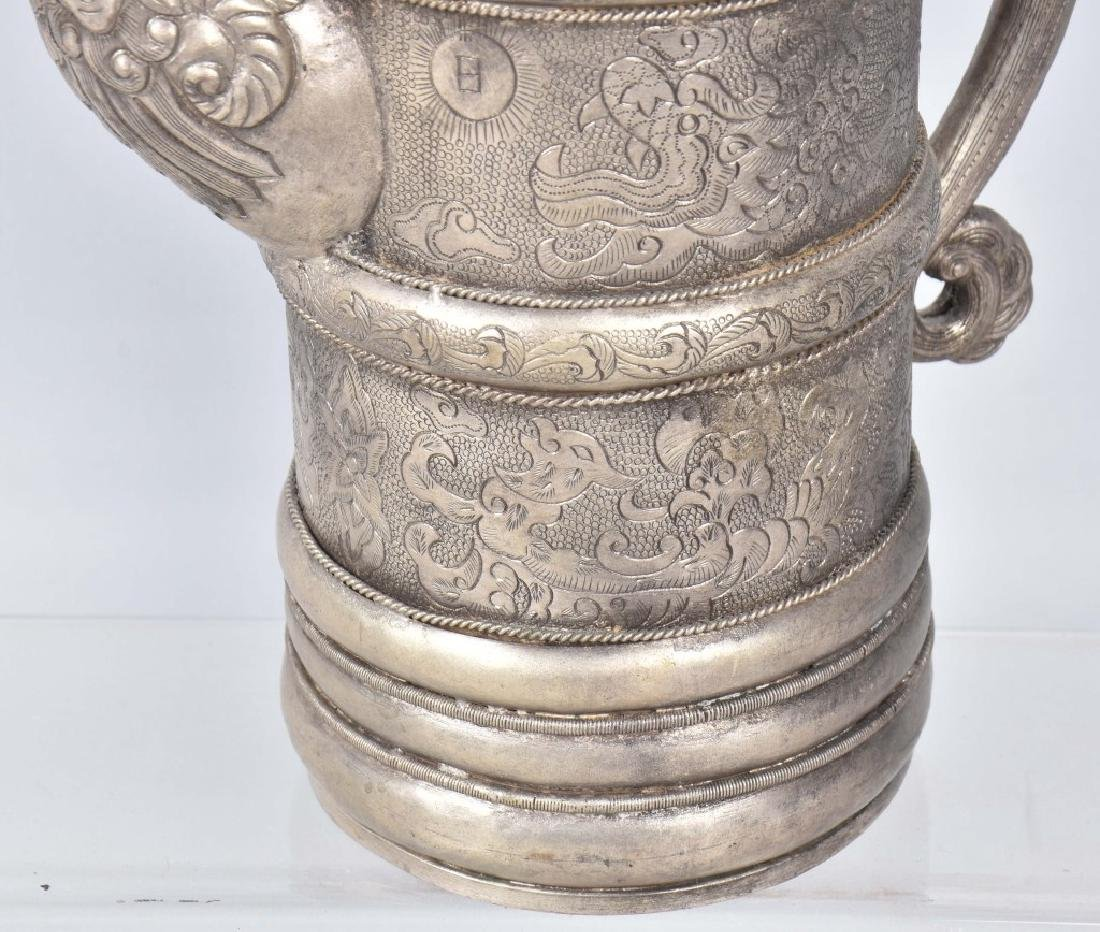 ASIAN HAMMERED METAL PITCHER w/ APPLIED STONES - 4