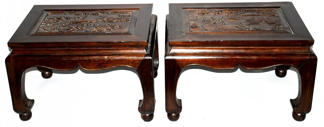 2- CHINESE CARVED WOOD LOW BENCHES