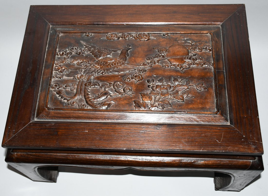 2- CHINESE CARVED WOOD LOW BENCHES - 2