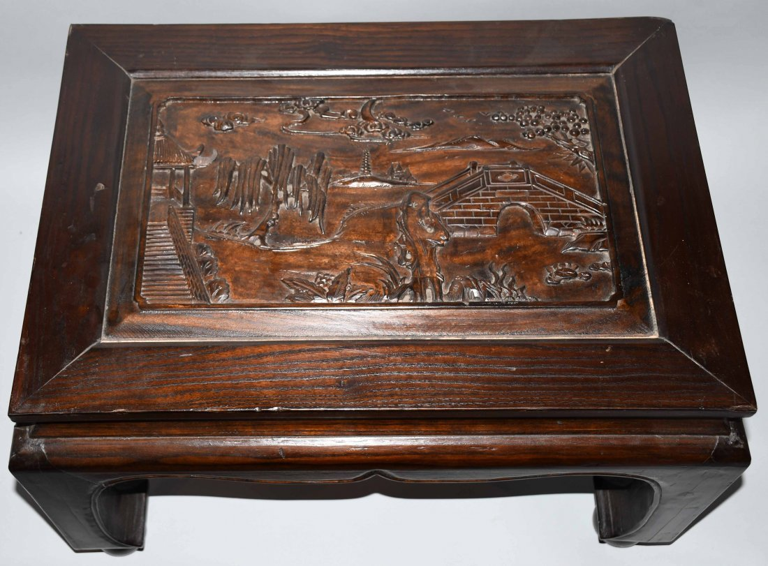 2- CHINESE CARVED WOOD LOW BENCHES - 3