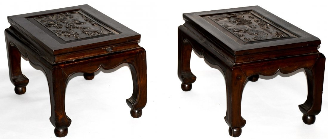 2- CHINESE CARVED WOOD LOW BENCHES - 4