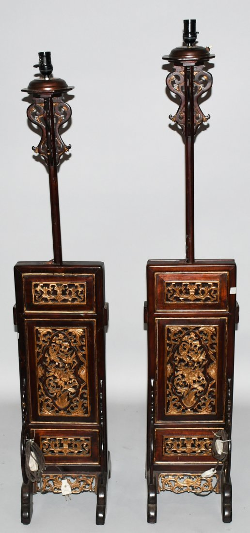 2- CHINESE CARVED WOOD FLOOR LAMPS