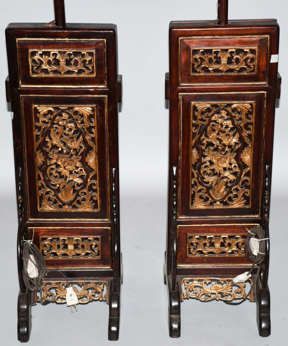 2- CHINESE CARVED WOOD FLOOR LAMPS - 2