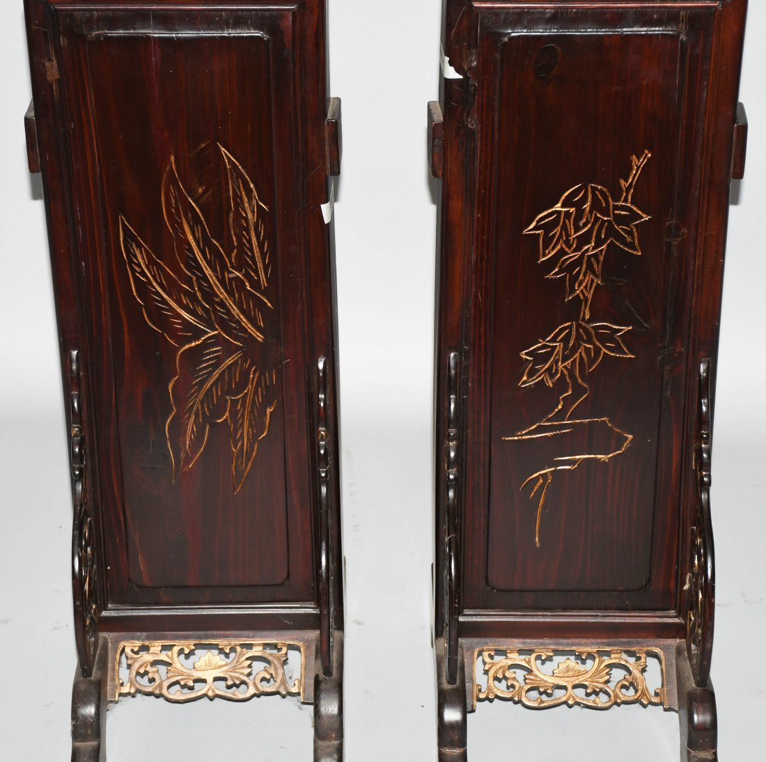 2- CHINESE CARVED WOOD FLOOR LAMPS - 4