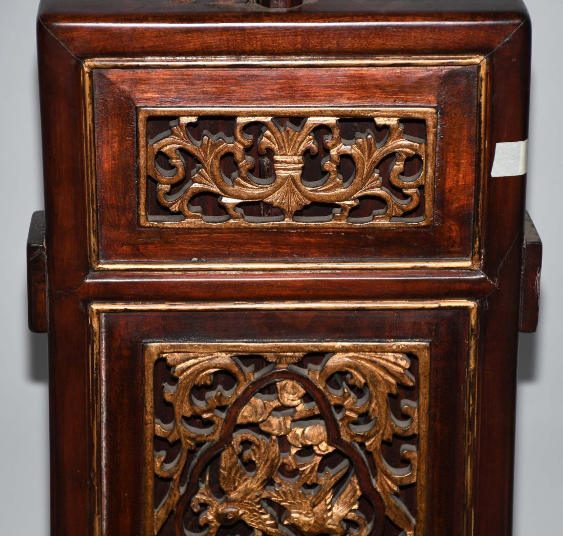 2- CHINESE CARVED WOOD FLOOR LAMPS - 5