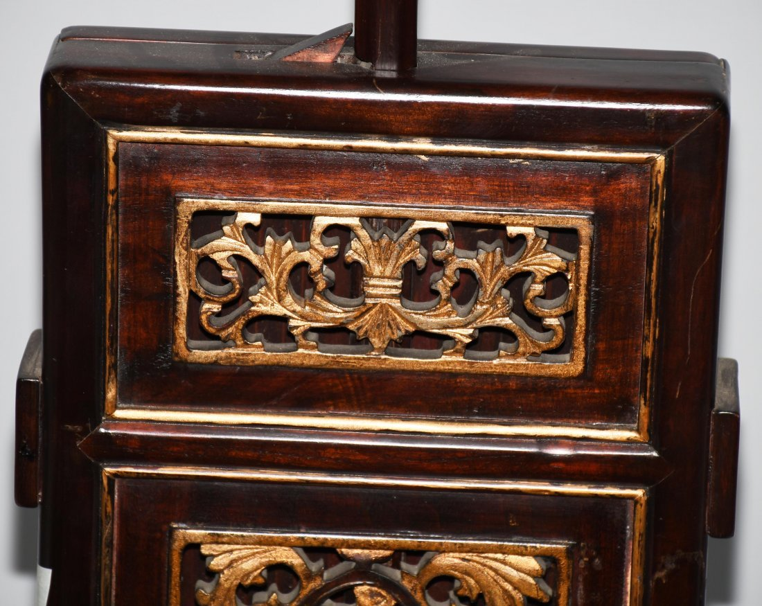 2- CHINESE CARVED WOOD FLOOR LAMPS - 8