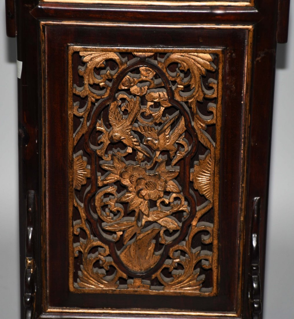2- CHINESE CARVED WOOD FLOOR LAMPS - 9