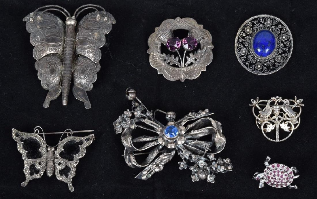 LOT of PINS & BROOCHES, SILVER and MORE