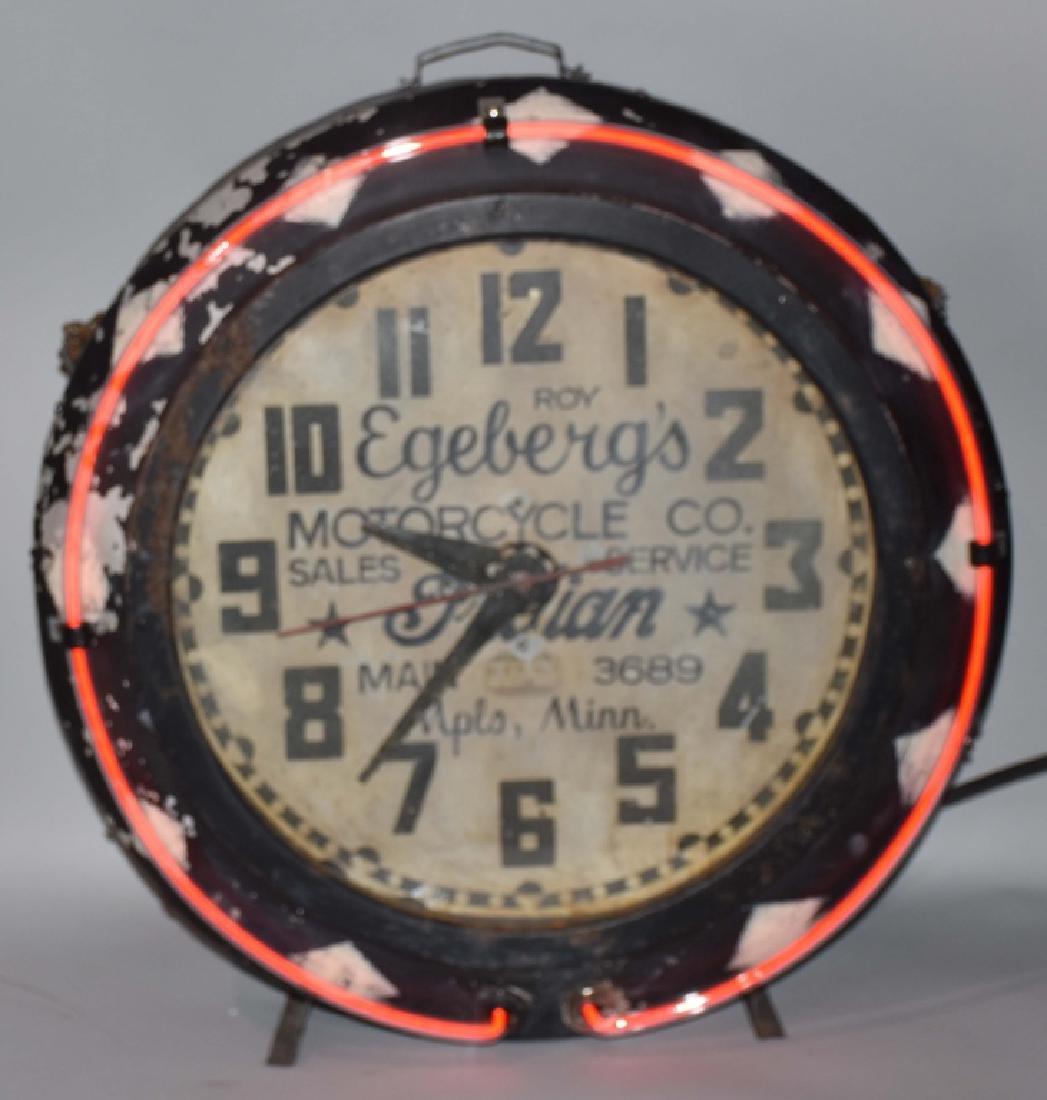 1920's-30's INDIAN MOTORCYCLE DEALER NEON CLOCK