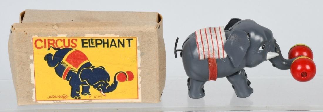 JAPAN 1930's TIN WINDUP CIRCUS ELEPHANT, BOXED