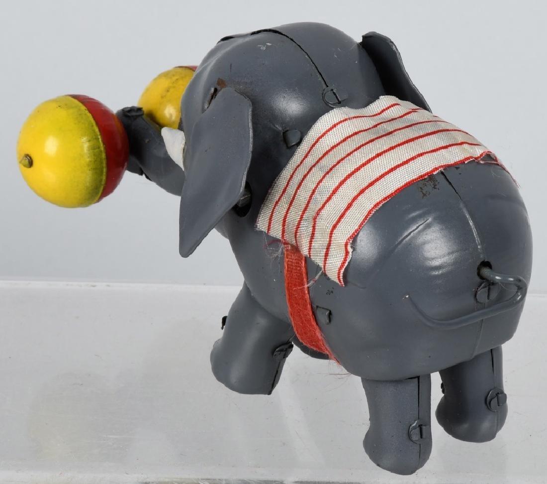 JAPAN 1930's TIN WINDUP CIRCUS ELEPHANT, BOXED - 3