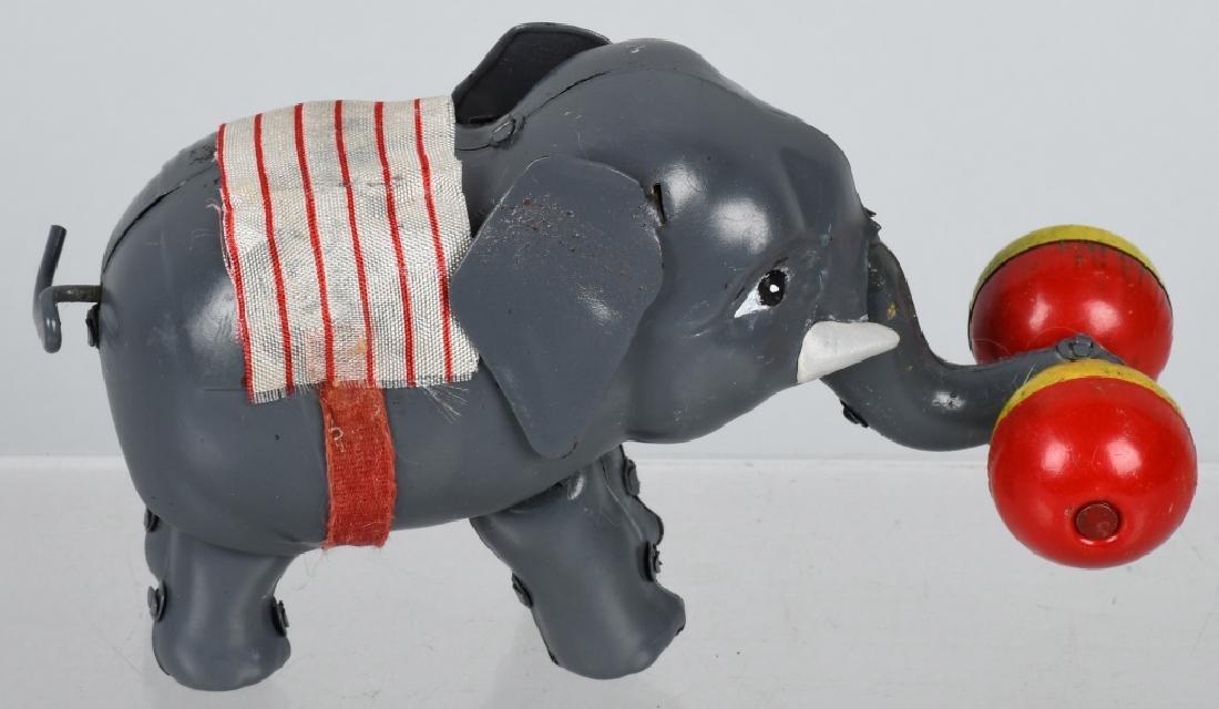 JAPAN 1930's TIN WINDUP CIRCUS ELEPHANT, BOXED - 4