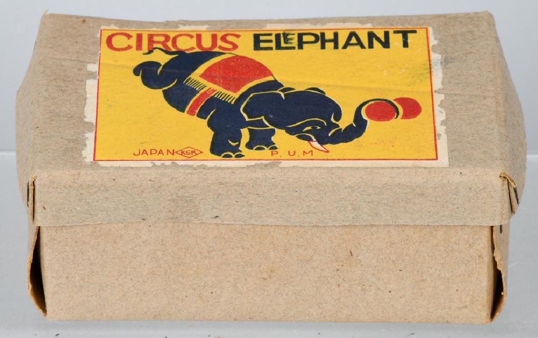 JAPAN 1930's TIN WINDUP CIRCUS ELEPHANT, BOXED - 5