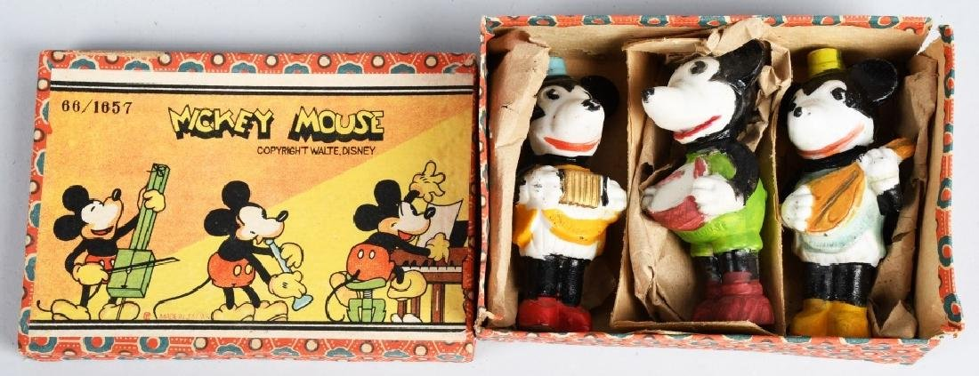 1930's MICKEY MOUSE, 3 PIECE BISQUE SET, BOXED