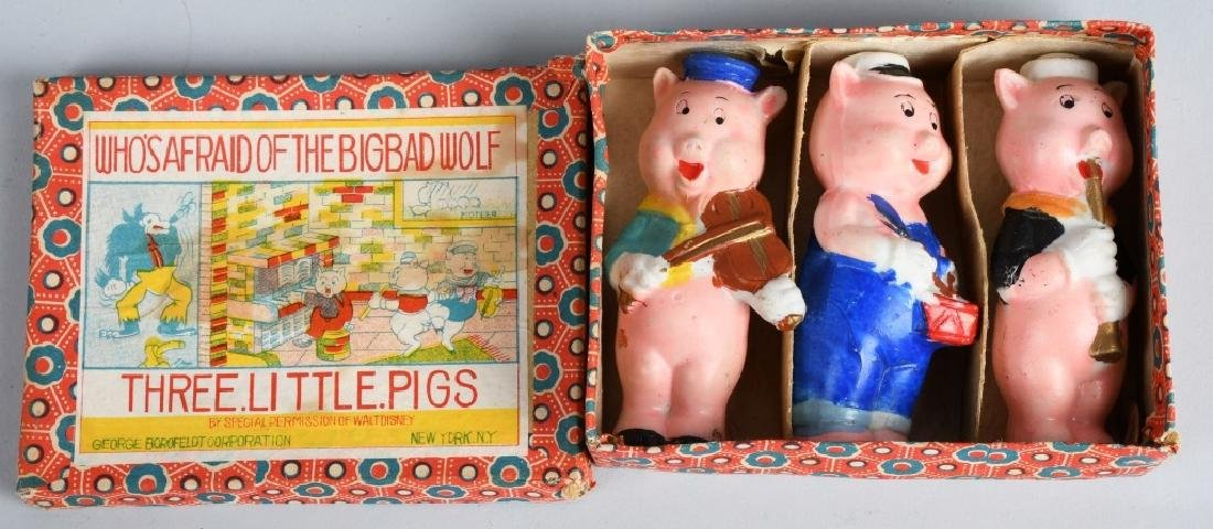 1930's WDE 3 LITTLE PIGS, BISQUE SET, BOXED
