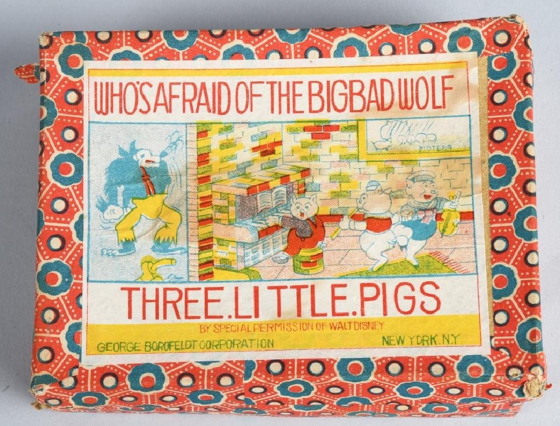 1930's WDE 3 LITTLE PIGS, BISQUE SET, BOXED - 4