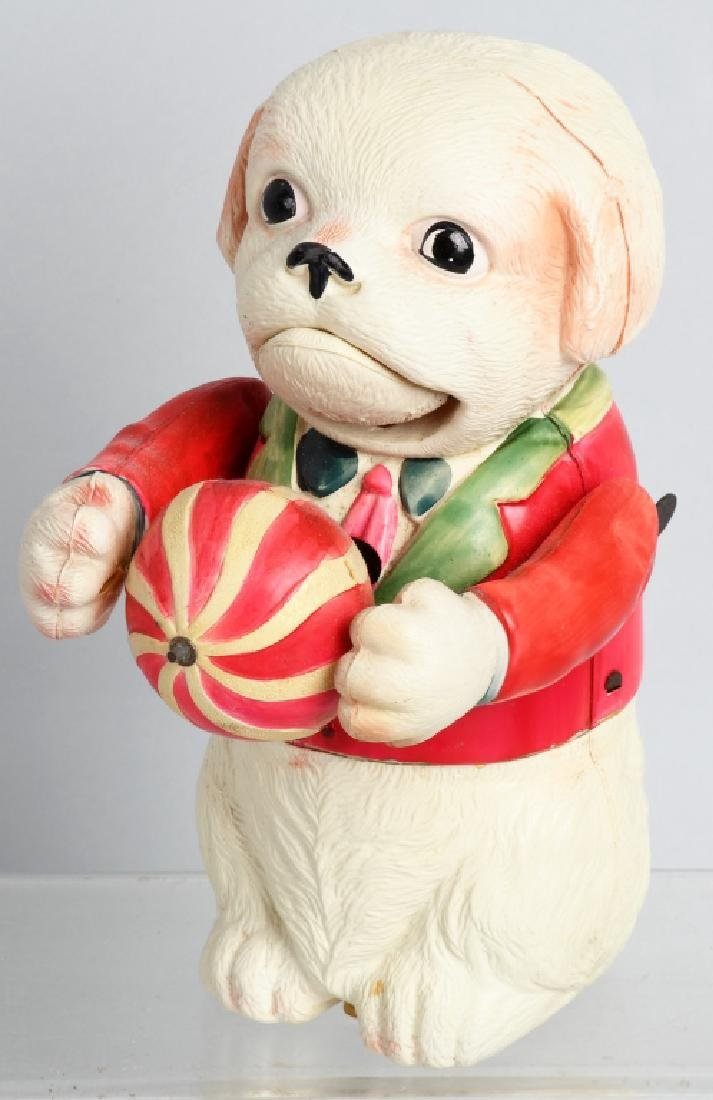 1930'S JAPAN CELLULOID LARGE DOG with BALL WINDUP