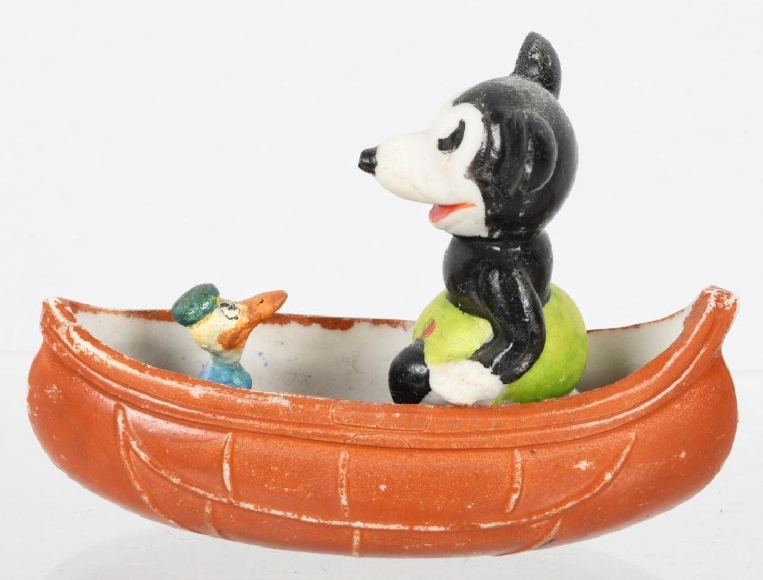 1930's MICKEY MOUSE & DONALD DUCK CANOE, BISQUE - 2