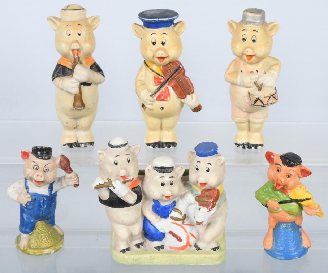 6-1930's JAPAN BISQUE 3 LITTLE PIGS FIGURES