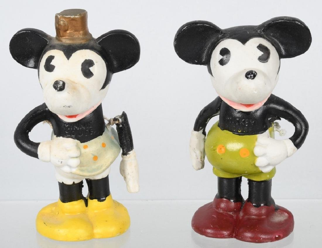 1930'S MICKEY & MINNIE TOOTHBRUSH HOLDERS