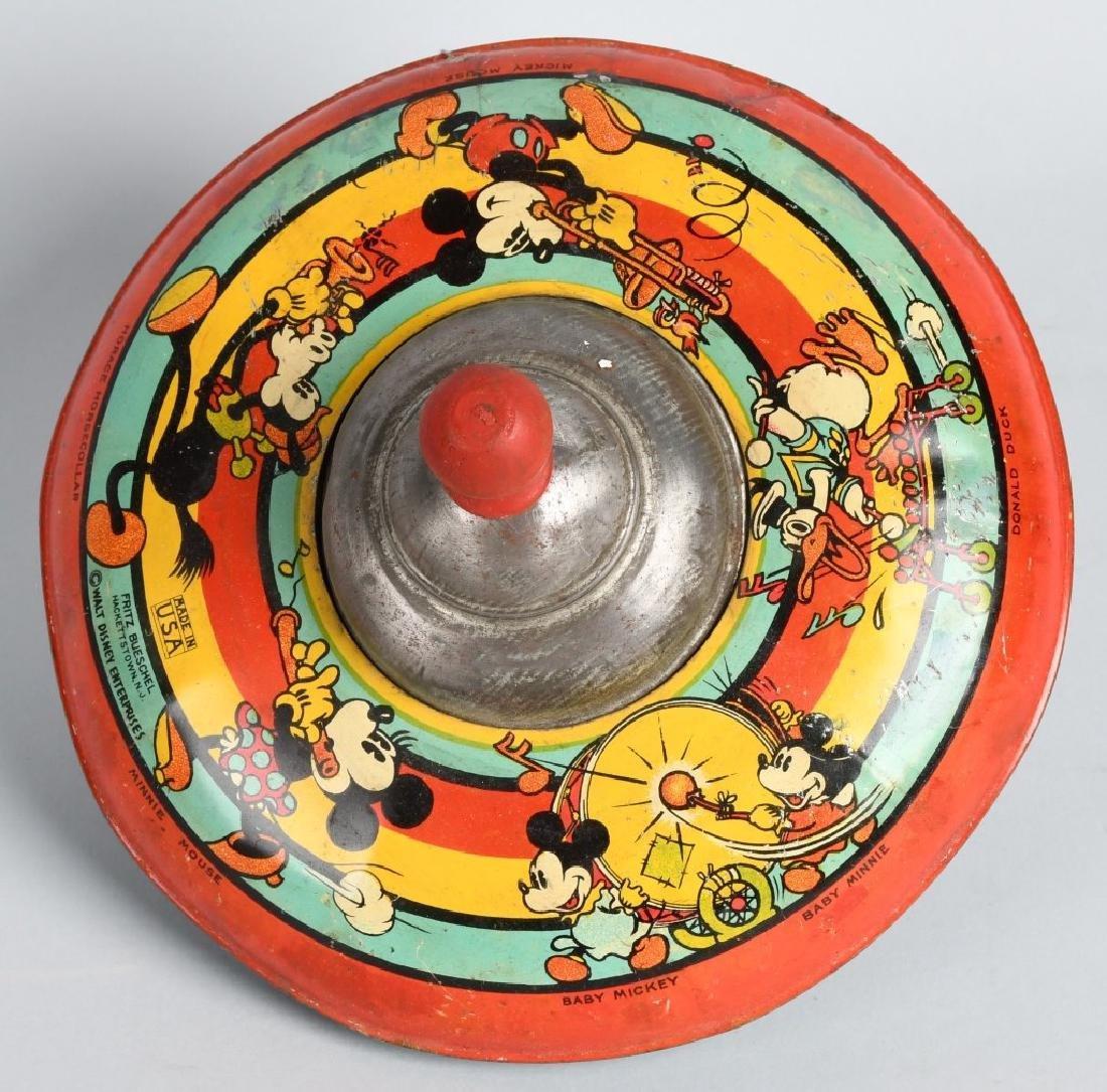 1930's OHIO ART WDE MICKEY & FRIENDS TIN TOY TOP