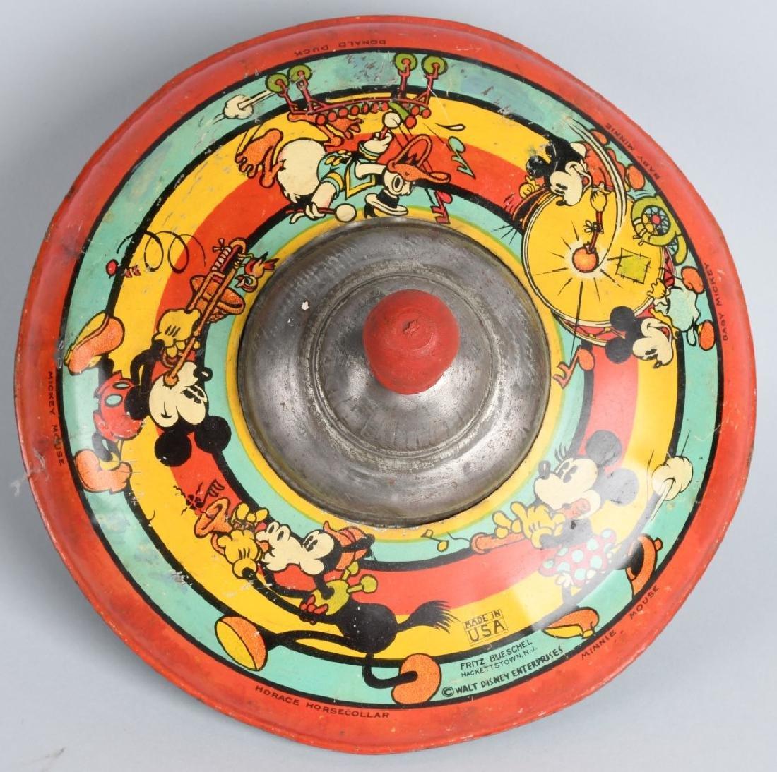 1930's OHIO ART WDE MICKEY & FRIENDS TIN TOY TOP - 3