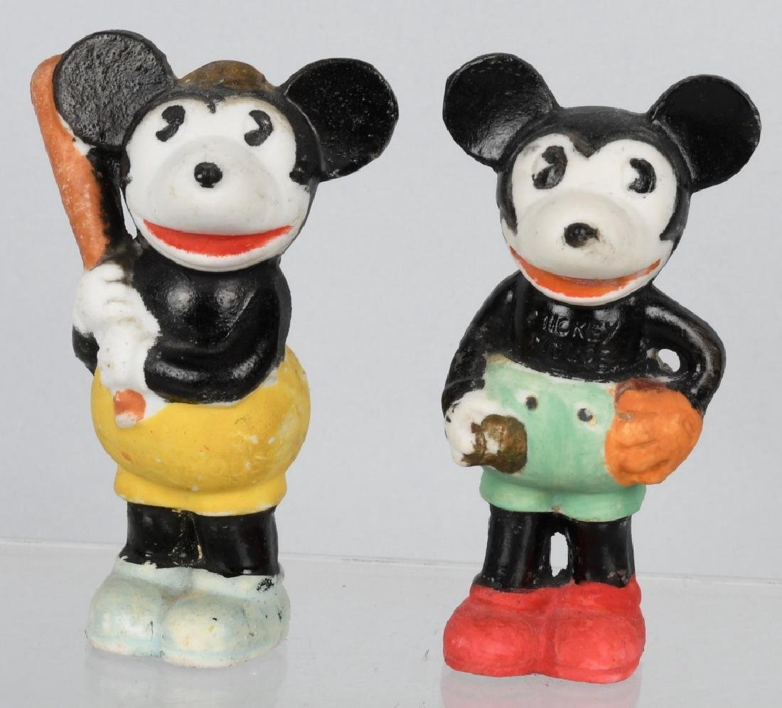 2-1930's MICKEY MOUSE BASEBALL BISQUE FIGURES