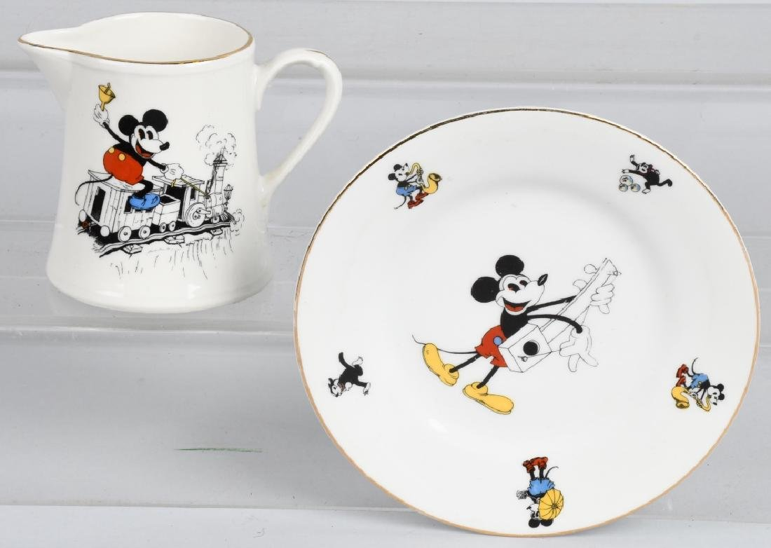 1930'S SCHUMANN MICKEY MOUSE CREAMER & PLATE