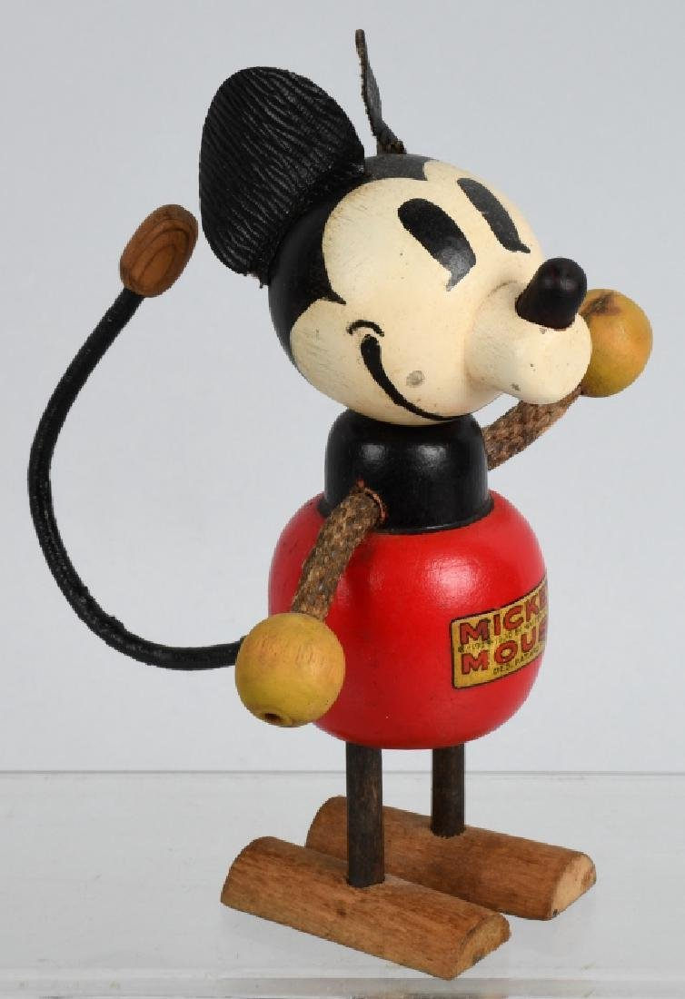 1930'S RARE POP UP HEAD MICKEY MOUSE WOOD DOLL - 4
