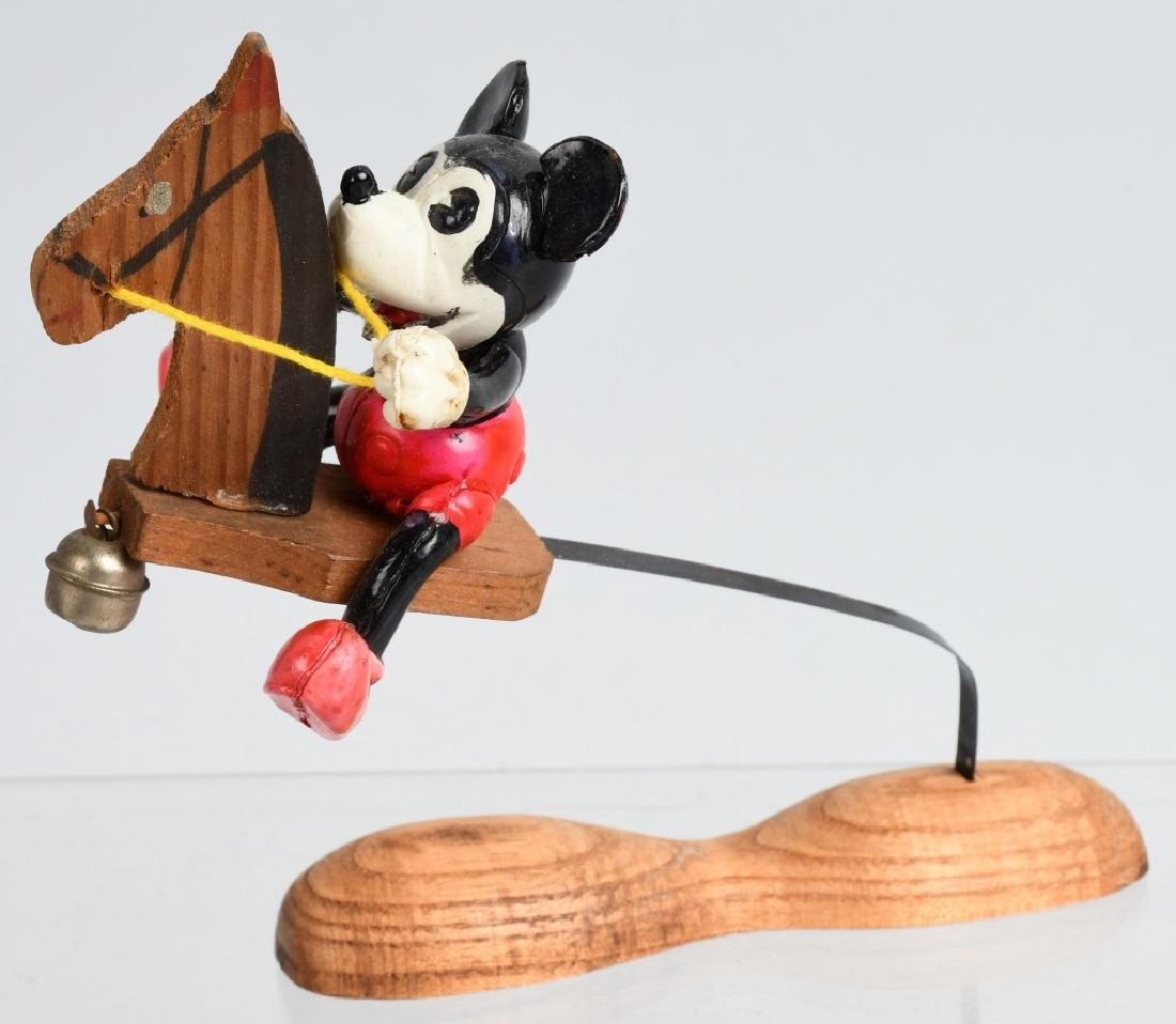 JAPAN CELLULOID MICKEY MOUSE ON WOOD HOBBY HORSE