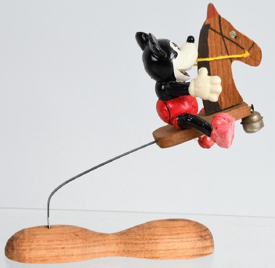JAPAN CELLULOID MICKEY MOUSE ON WOOD HOBBY HORSE - 2