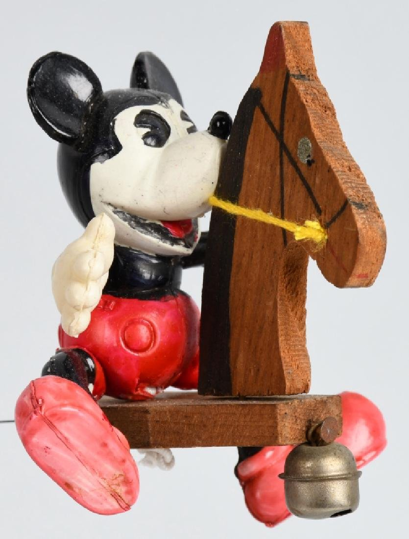 JAPAN CELLULOID MICKEY MOUSE ON WOOD HOBBY HORSE - 3