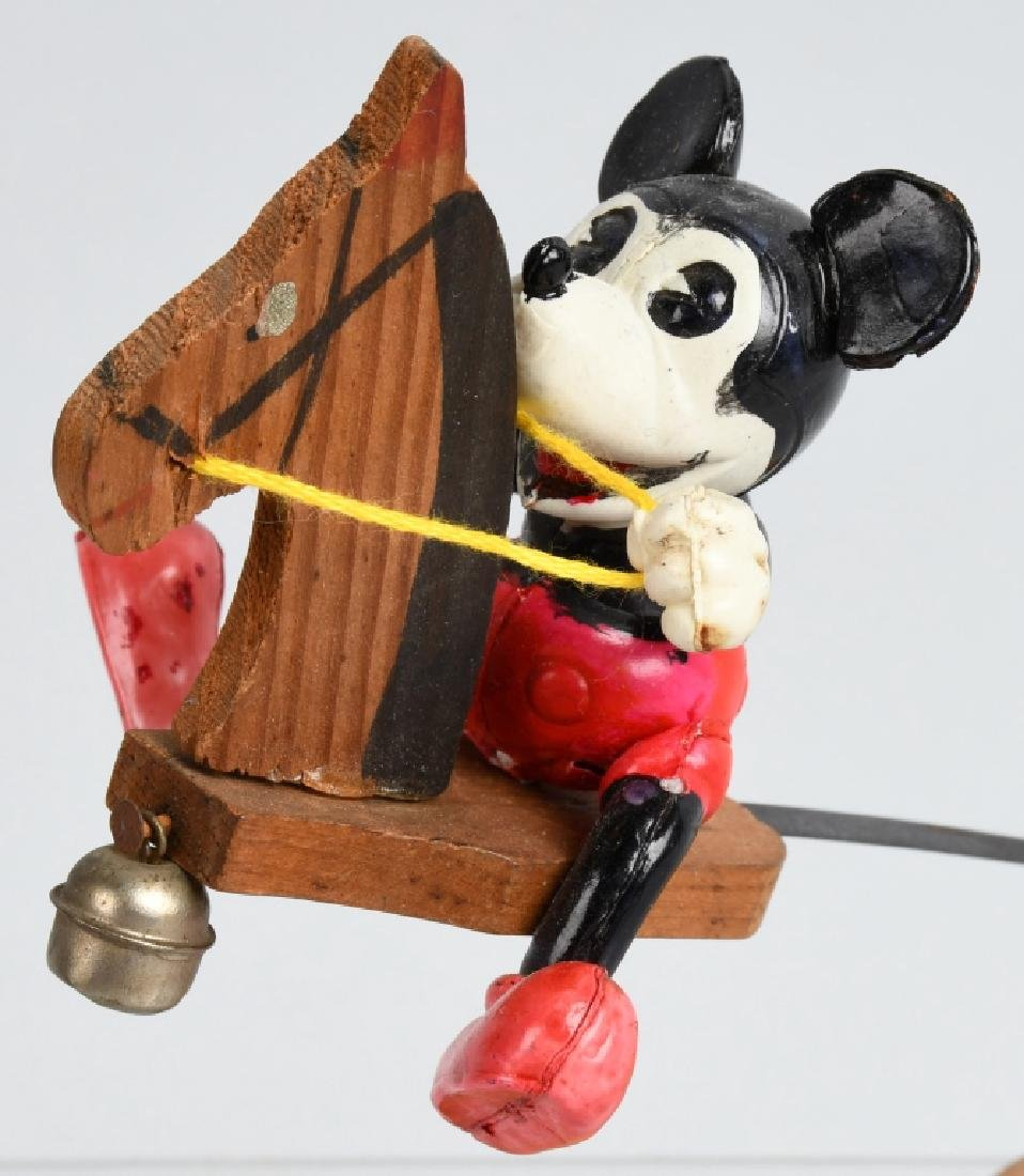 JAPAN CELLULOID MICKEY MOUSE ON WOOD HOBBY HORSE - 4