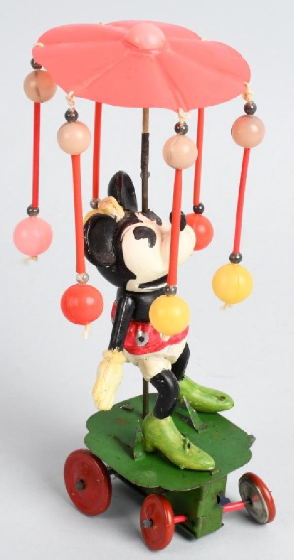 JAPAN Celluloid Windup MINNIE MOUSE WHIRLY GIG - 4