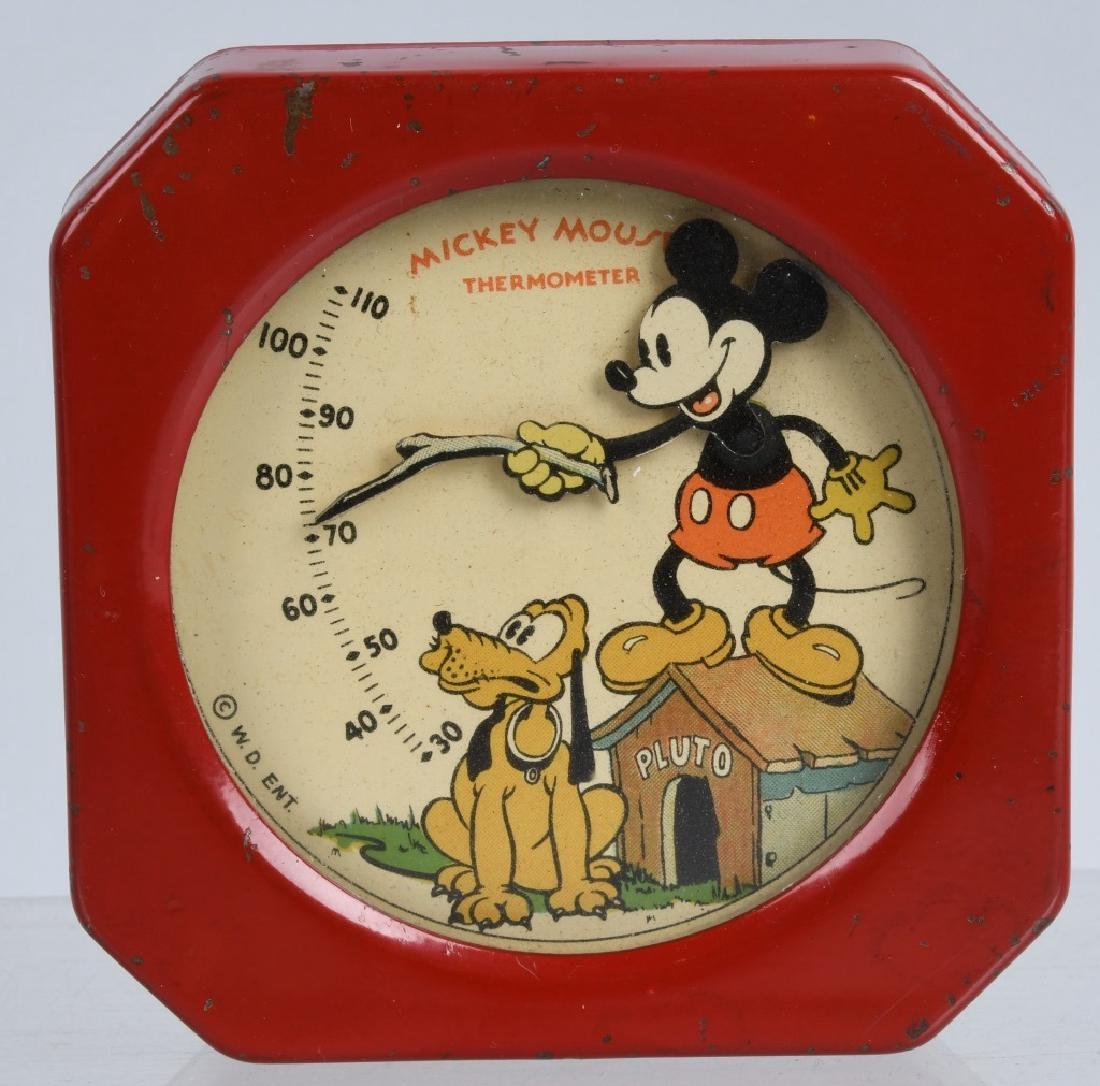 1930's WDE MICKEY MOUSE TIN THERMOMETER
