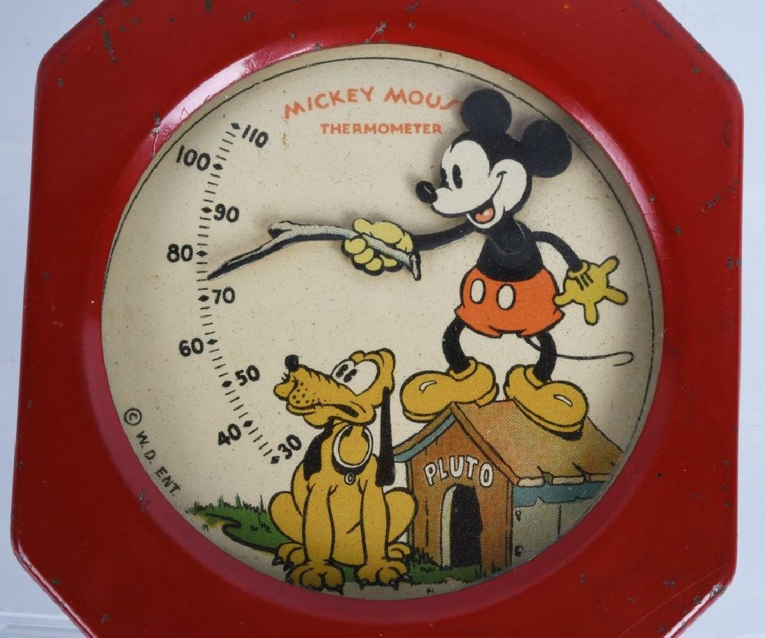 1930's WDE MICKEY MOUSE TIN THERMOMETER - 3