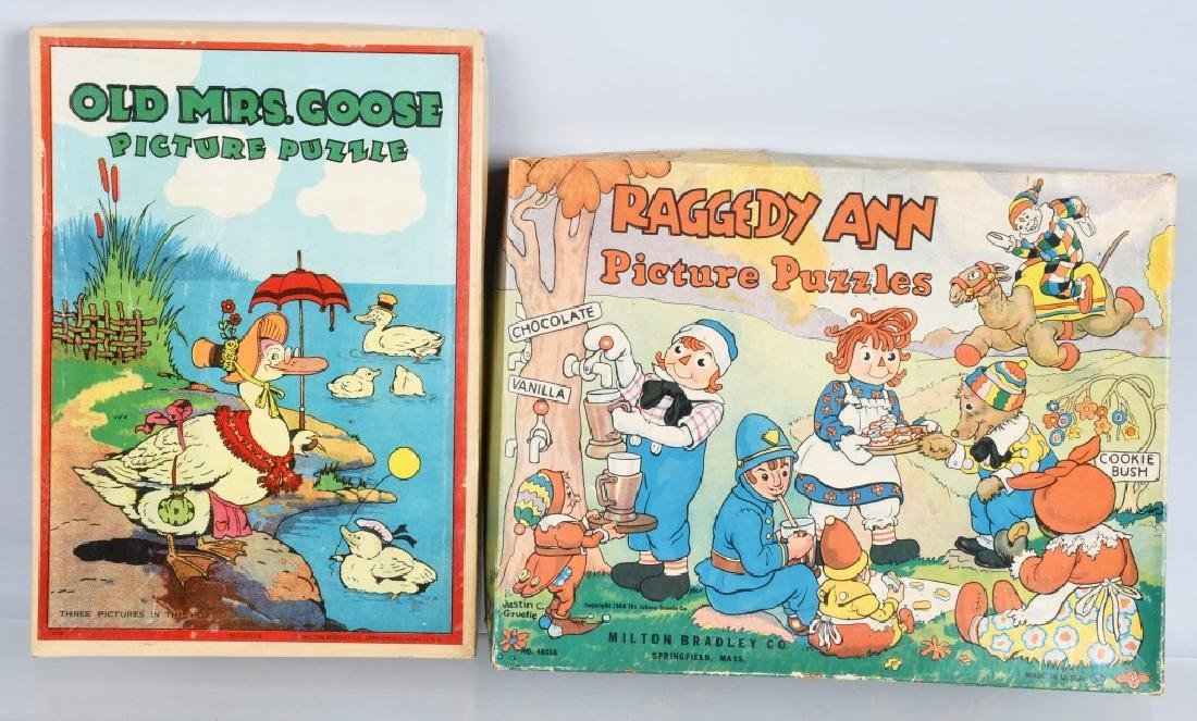 VINTAGE PUZZLE LOT RAGGEDY ANN & OLD MRS. GOOSE
