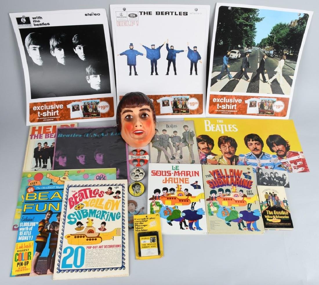 LARGE BEATLES LOT, BUTTONS, POSTERS & MORE