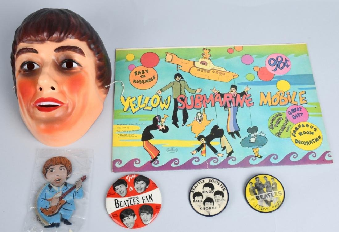 LARGE BEATLES LOT, BUTTONS, POSTERS & MORE - 5