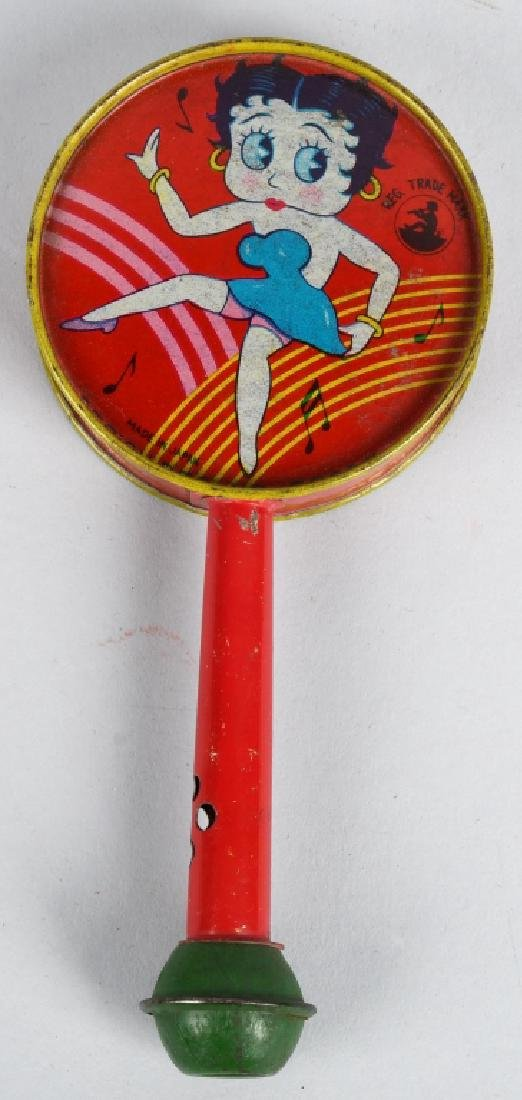 1930'S JAPAN BETTY BOOP TIN RATTLE/ HORN