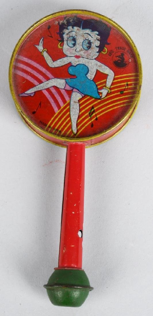 1930'S JAPAN BETTY BOOP TIN RATTLE/ HORN - 3